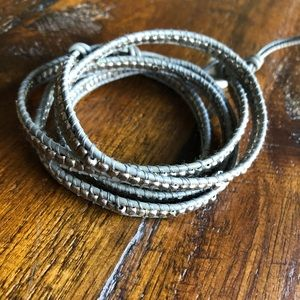 Nakamol Leather & Silver Tone Beaded Wrap Bracelet